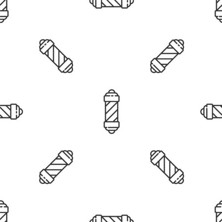 Grey line Classic Barber shop pole icon isolated seamless pattern on white background. Barbershop pole symbol. Vector Illustration