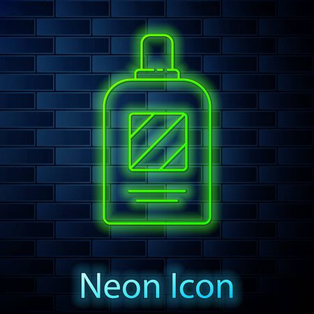 Glowing neon line Bottle of shampoo icon isolated on brick wall background. Vector Illustration