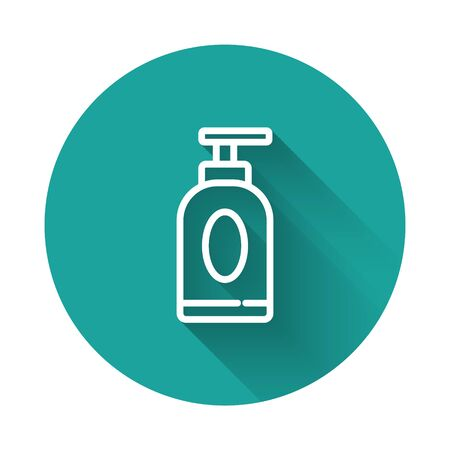 White line Cream or lotion cosmetic tube icon isolated with long shadow. Body care products for men. Green circle button. Vector Illustration