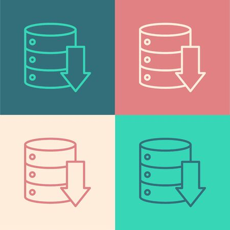 Pop art line Server, Data, Web Hosting icon isolated on color background. Vector Illustration