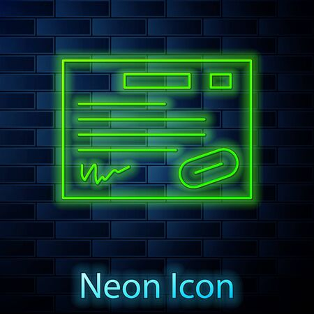 Glowing neon line Warranty certificate template icon isolated on brick wall background. Vector Illustration