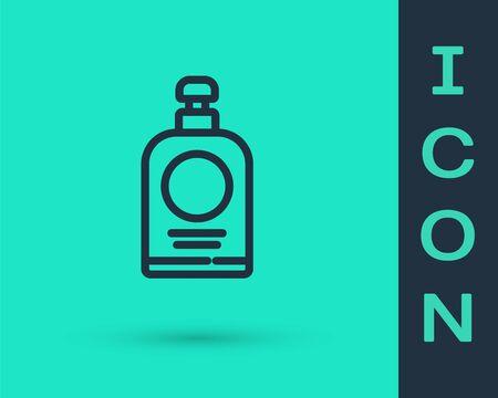 Black line Hand sanitizer bottle icon isolated on green background. Disinfection concept. Washing gel. Alcohol bottle for hygiene. Vector Illustration