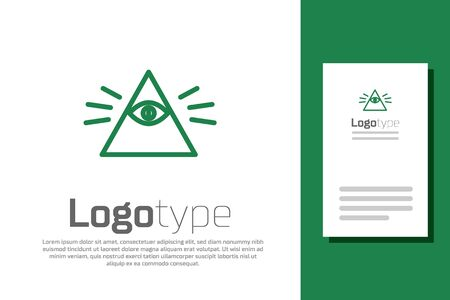 Green line Masons symbol All-seeing eye of God icon isolated on white background. The eye of Providence in the triangle. Logo design template element. Vector Illustration Logos