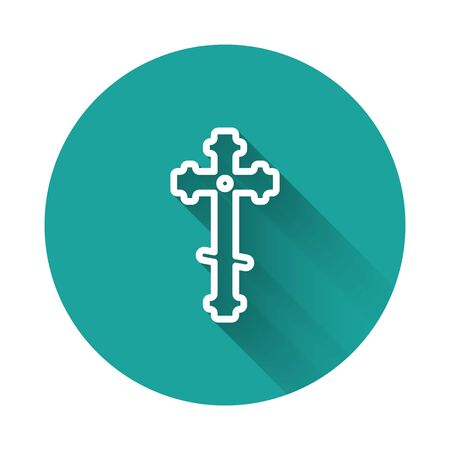 White line Christian cross icon isolated with long shadow. Church cross. Green circle button. Vector Illustration