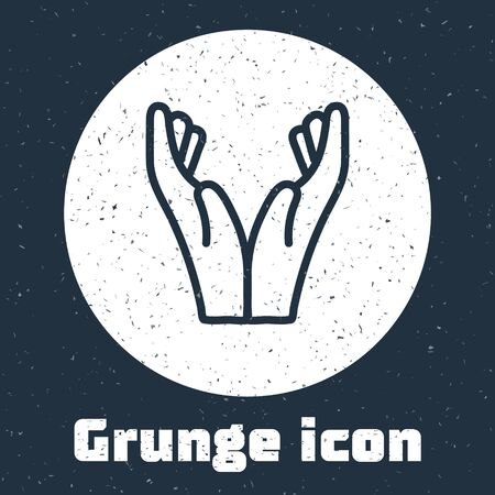 Grunge line Hands in praying position icon isolated on grey background. Prayer to god with faith and hope. Monochrome vintage drawing. Vector Illustration Иллюстрация