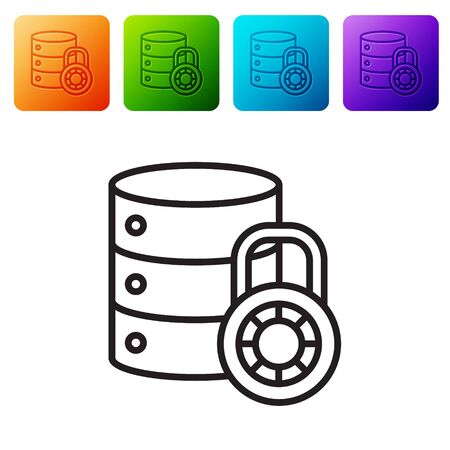 Black line Server security with closed padlock icon isolated on white background. Security, safety, protection concept. Set icons in color square buttons. Vector Illustration