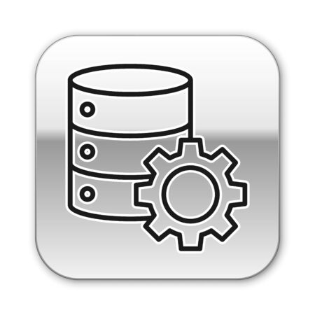 Black line Server and gear icon isolated on white background. Adjusting app, service concept, setting options, maintenance, repair, fixing. Silver square button. Vector Illustration