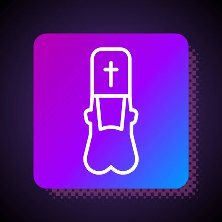 White line Priest icon isolated on black background. Square color button. Vector Illustration Иллюстрация