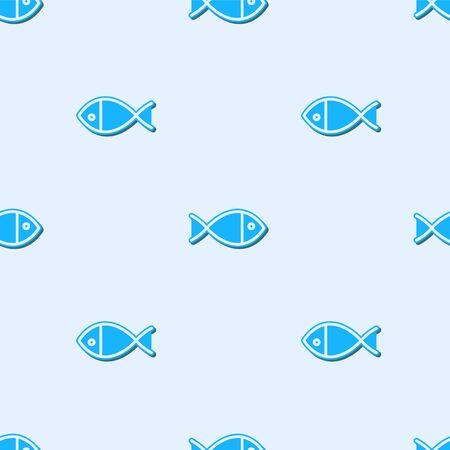 Blue line Christian fish symbol icon isolated seamless pattern on grey background. Jesus fish symbol. Vector Illustration Иллюстрация