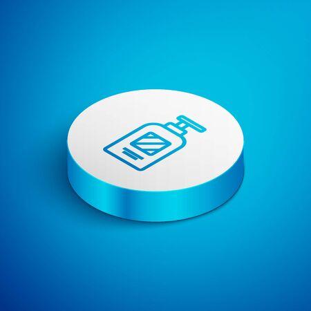 Isometric line Bottle of shampoo icon isolated on blue background. White circle button. Vector Illustration