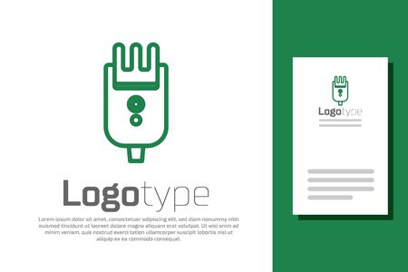 Green line Electrical hair clipper or shaver icon isolated on white background. Barbershop symbol. design template element. Vector Illustration
