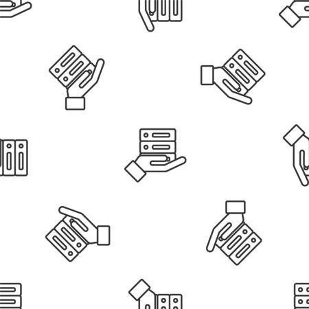 Grey line Server, Data, Web Hosting icon isolated seamless pattern on white background. Vector Illustration