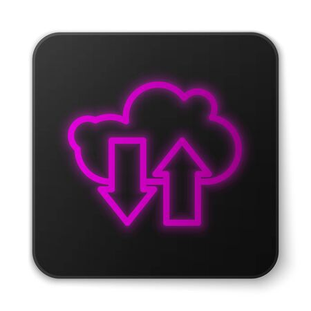 Glowing neon line Cloud download and upload icon isolated on white background. Black square button. Vector Illustration
