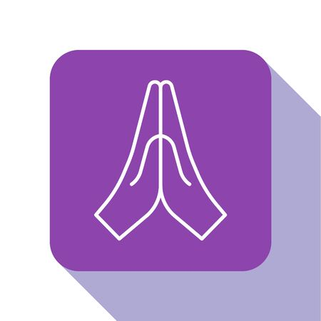 White line Hands in praying position icon isolated on white background. Prayer to god with faith and hope. Purple square button. Vector Illustration