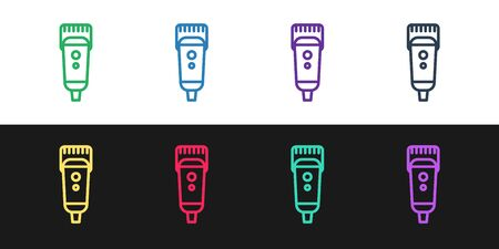 Set line Electrical hair clipper or shaver icon isolated on black and white background. Barbershop symbol. Vector Illustration