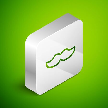Isometric line Mustache icon isolated on green background. Barbershop symbol. Facial hair style. Silver square button. Vector Illustration Vectores