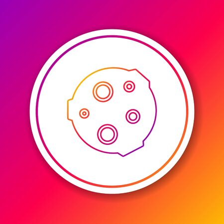 Color line Moon icon isolated on color background. Circle white button. Vector Фото со стока - 147351901