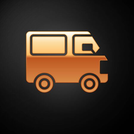 Gold Delivery cargo truck vehicle icon isolated on black background. Vector Illustration