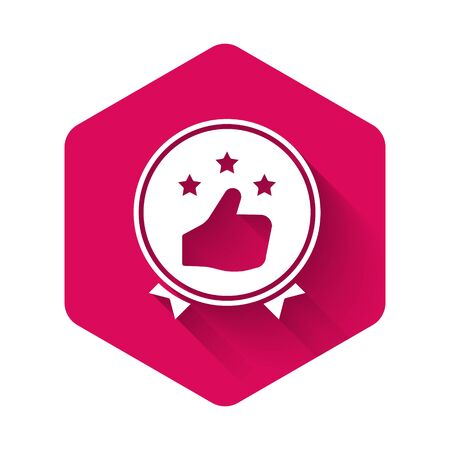 White Consumer or customer product rating icon isolated with long shadow. Pink hexagon button. Vector