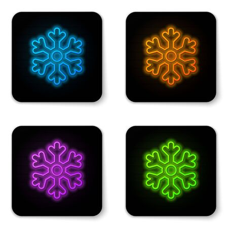 Glowing neon Snowflake icon isolated on white background. Black square button. Vector Illustration