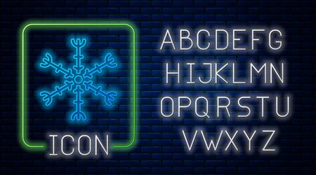 Glowing neon Snowflake icon isolated on brick wall background. Neon light alphabet. Vector Illustration