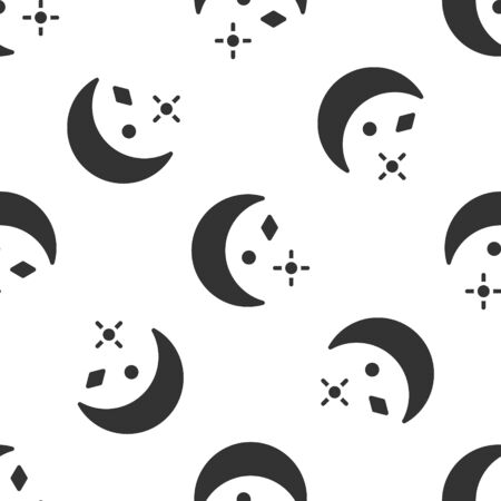 Grey Moon and stars icon isolated seamless pattern on white background. Cloudy night sign. Sleep dreams symbol. Night or bed time sign. Vector Иллюстрация