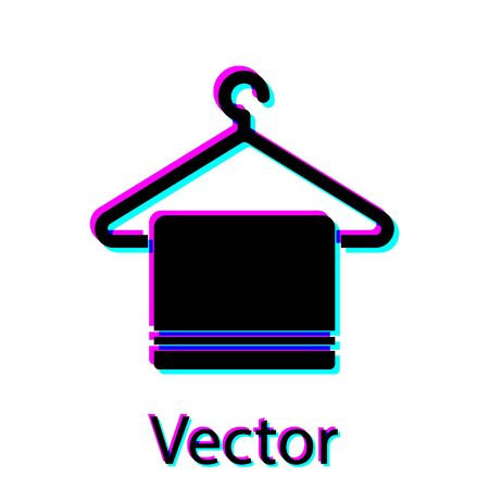 Black Towel on a hanger icon isolated on white background. Bathroom towel icon. Vector Vectores