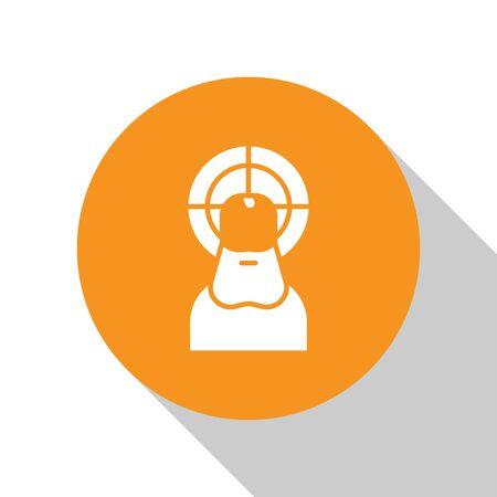 White Jesus Christ icon isolated on white background. Orange circle button. Vector