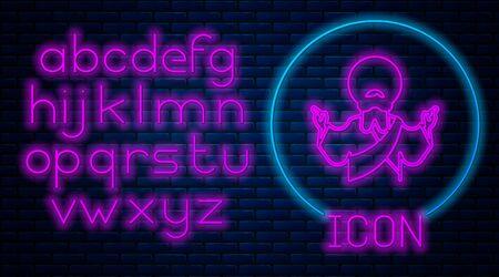 Glowing neon Jesus Christ icon isolated on brick wall background. Neon light alphabet. Vector Иллюстрация