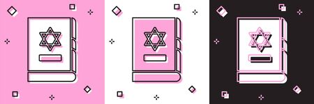 Set Jewish torah book icon isolated on pink and white, black background. On the cover of the Bible is the image of the Star of David. Vector