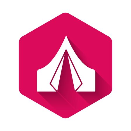 White Tourist tent icon isolated with long shadow. Camping symbol. Pink hexagon button. Vector Çizim