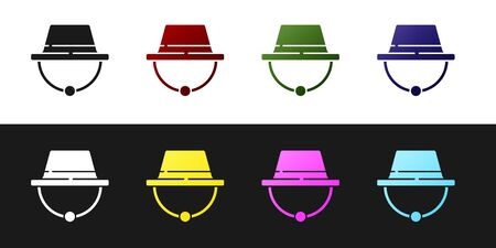 Set Camping hat icon isolated on black and white background. Beach hat. Explorer travelers hat for hunting, hiking, tourism. Vector