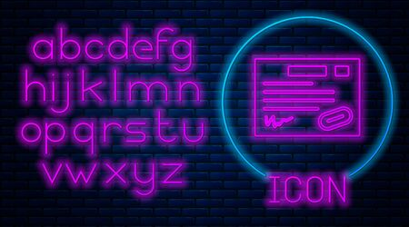 Glowing neon Warranty certificate template icon isolated on brick wall background. Neon light alphabet. Vector