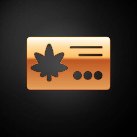 Gold Calendar and marijuana or cannabis leaf icon isolated on black background. National weed day. Hemp symbol. Vector Illustration Illustration