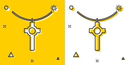 Black Christian cross on chain icon isolated on yellow and white background. Church cross. Random dynamic shapes. Vector Иллюстрация
