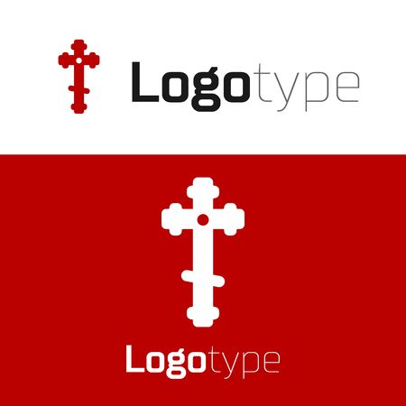 Red Christian cross icon isolated on white background. Church cross. Design template element. Vector