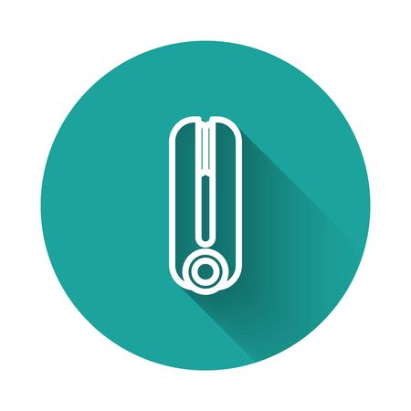 White line Curling iron for hair icon isolated with long shadow. Hair straightener icon. Green circle button. Vector