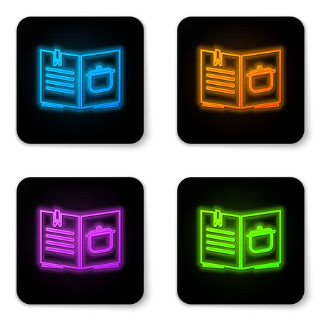Glowing neon Cookbook icon isolated on white background. Cooking book icon. Recipe book. Fork and knife icons. Cutlery symbol. Black square button. Vector Illustration