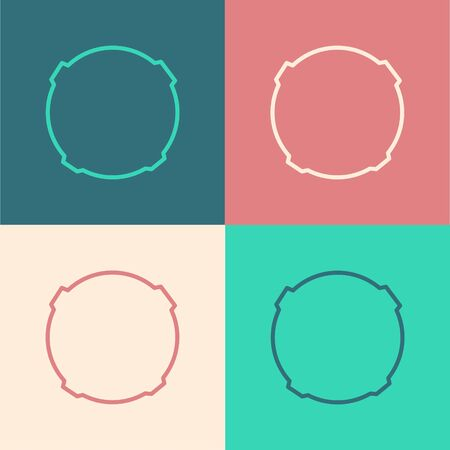 Pop art line Moon icon isolated on color background. Vector Illustration