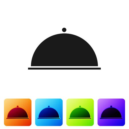 Black Covered with a tray of food icon isolated on white background. Tray and lid. Restaurant cloche with lid. Kitchenware symbol. Set icons in color square buttons. Vector Illustration