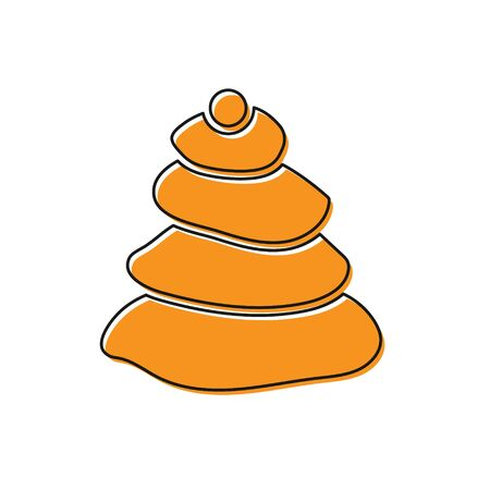 Orange Stack hot stones icon isolated on white background. Spa salon accessory. Vector Vectores