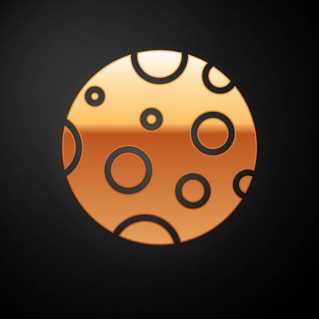 Gold Moon icon isolated on black background. Vector Иллюстрация