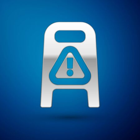 Silver Wet floor and cleaning in progress icon isolated on blue background. Cleaning service concept. Vector