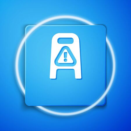 White Wet floor and cleaning in progress icon isolated on blue background. Cleaning service concept. Blue square button. Vector Иллюстрация