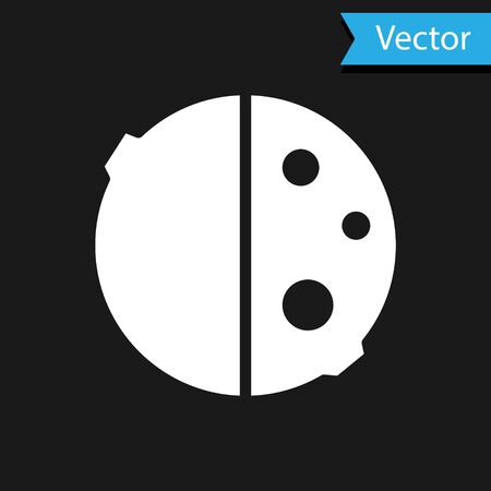 White Eclipse of the sun icon isolated on black background. Total sonar eclipse. Vector