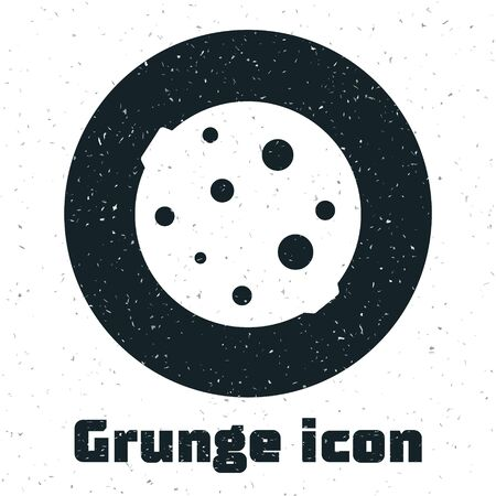 Grunge Moon icon isolated on white background. Monochrome vintage drawing. Vector Иллюстрация
