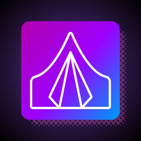 White line Tourist tent icon isolated on black background. Camping symbol. Square color button. Vector