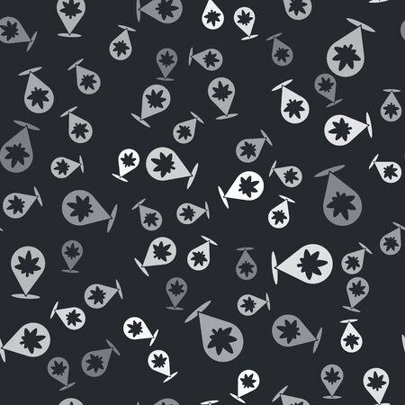 Grey Map pointer and marijuana or cannabis leaf icon isolated seamless pattern on black background. Hemp symbol. Vector Ilustracja