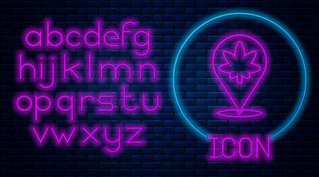 Glowing neon Map pointer and marijuana or cannabis leaf icon isolated on brick wall background. Hemp symbol. Neon light alphabet. Vector Ilustracja