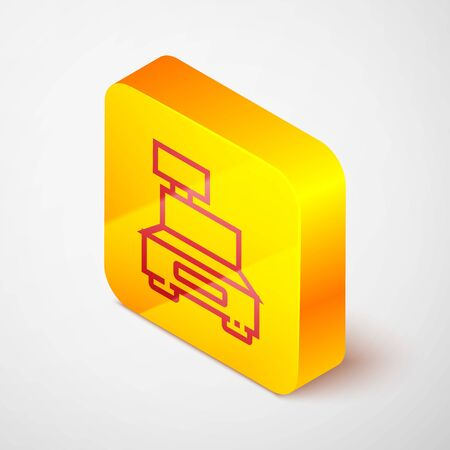 Isometric line Cash register machine with a check icon isolated on grey background. Cashier sign. Cashbox symbol. Yellow square button. Vector